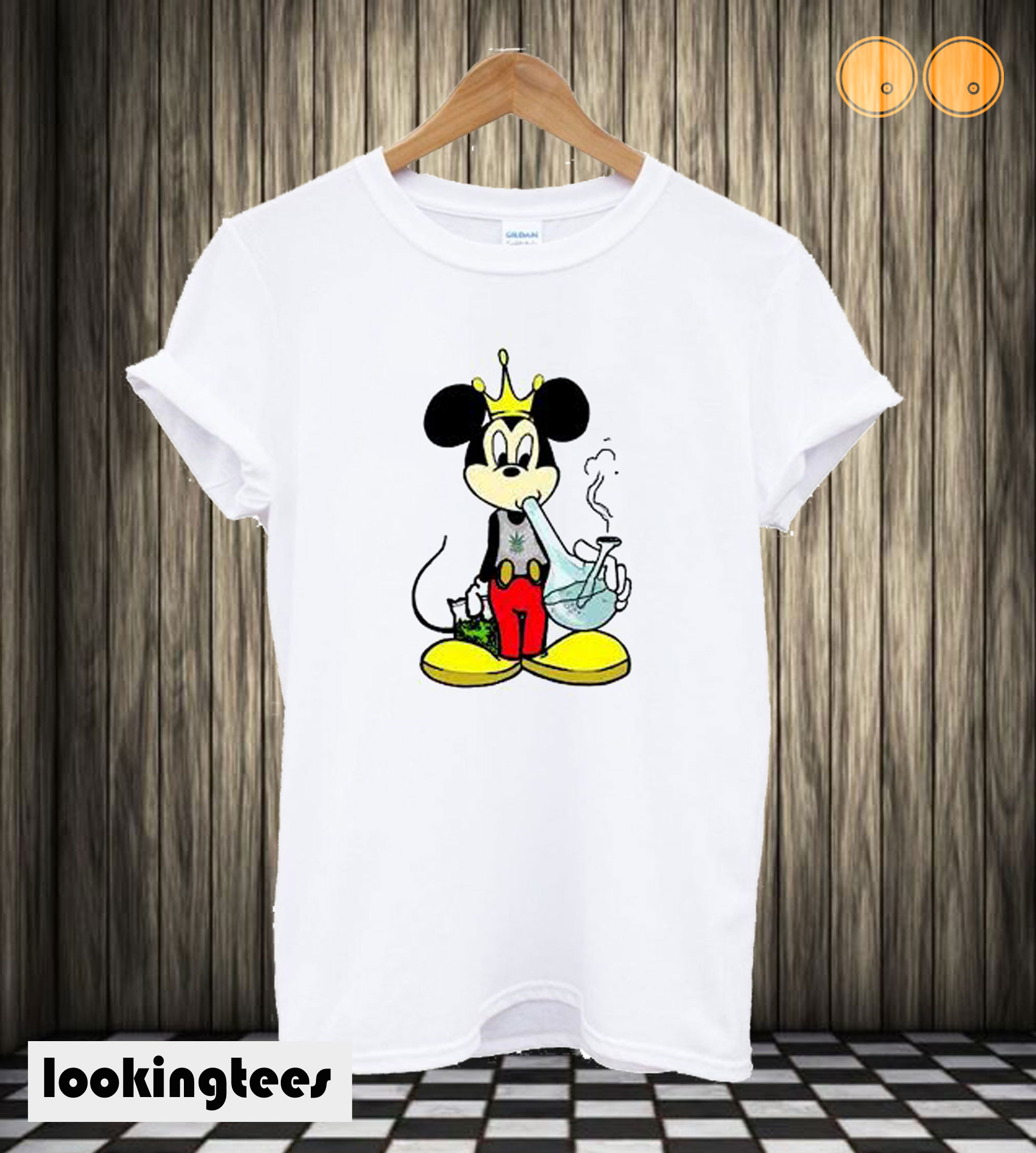 Mickey Mouse Smoking a Bong Marijuana 420 Stoner Weed T shirt