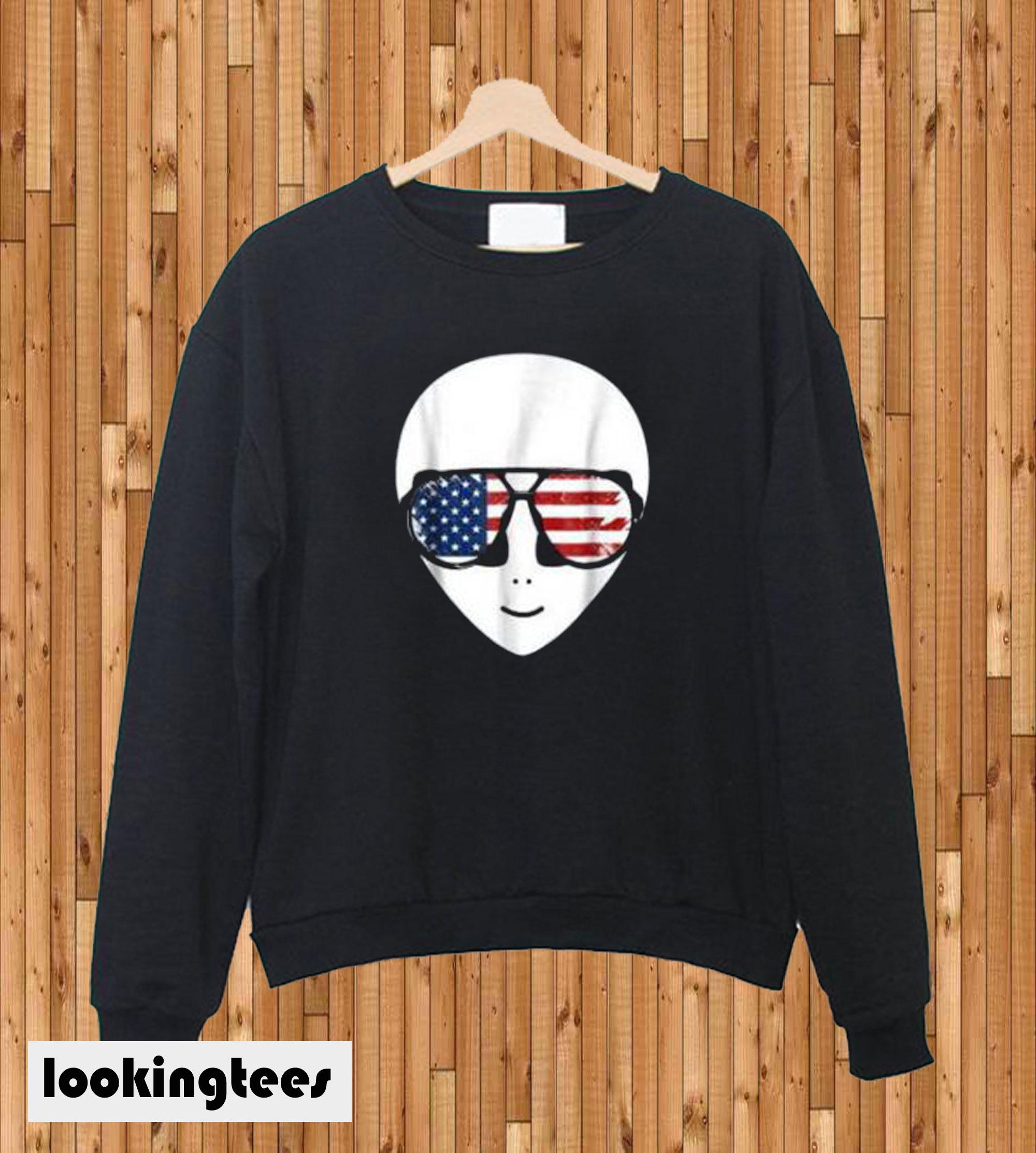 Alien Beard American Flag Sunglasses Sweatshirt
